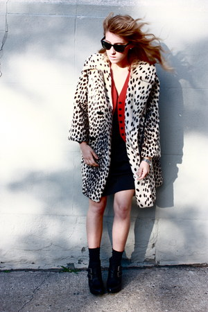 vintage coat - Vintage DKNY vest - gestuz dress - Jeffrey Campbell shoes