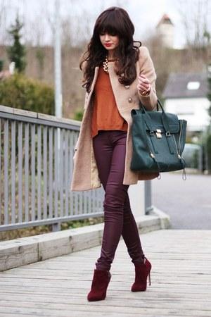 green Phillip Lim bag - brick red Carvela boots - bronze Sheinside coat