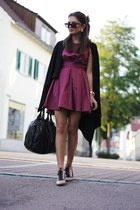 maroon inlovewithfashion dress - neutral Zara flats - black H&M cardigan