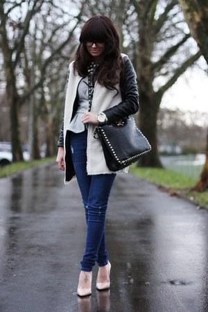 black lookbookstore coat - navy Oasis jeans - silver asos blazer