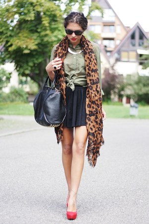 brown Primark scarf - black Club Couture skirt - dark khaki H&M blouse