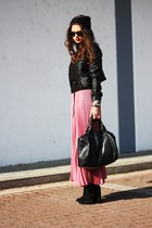 hot pink romwe skirt - black New Yorker jacket
