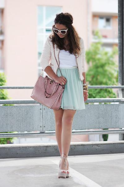 light blue Primark skirt - beige Zara jacket - periwinkle Steve Madden pumps