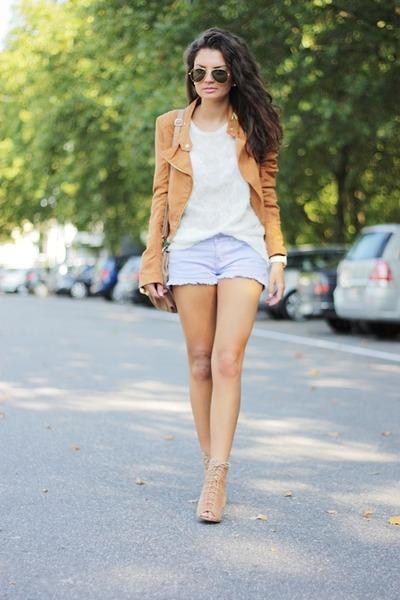 light purple Primark shorts - tawny H&M jacket - white romwe sweater