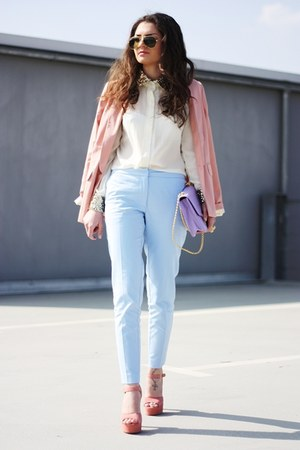 light purple romwe bag - pink Steve Madden shoes - nude romwe blouse