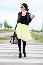 light yellow Oasis skirt - black lookbookstore bag