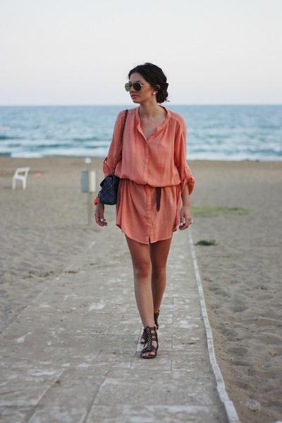 blue Primark bag - coral Vila dress - brown Zara sandals