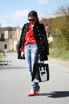 red H&M blouse - black bag