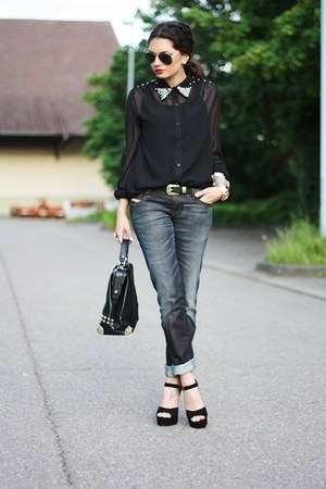 black VJ-style bag - dark gray Diesel jeans - black Steve Madden pumps