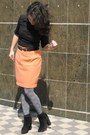 Black-asos-boots-black-mango-shirt-peach-thrifted-skirt
