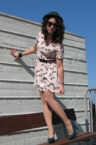 light pink H&M dress - forest green vintage hat - forest green alloy heels - bla
