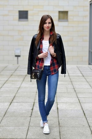 ruby red Choies blouse - blue Topshop jeans - black Sheinside jacket