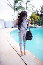 eggshell vintage heels - silver H & M sweater - black Christian Louboutin bag