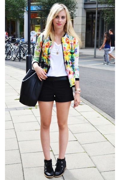 white floral Sheinside jacket - black romwe shoes