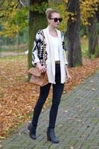 off white romwe sweater - black Topshop jeans - brown Zara bag