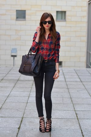 black Topshop jeans - black Celine bag - dark brown Ray Ban sunglasses