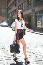 black Celine bag - crimson Choies shirt - black Ray Ban sunglasses