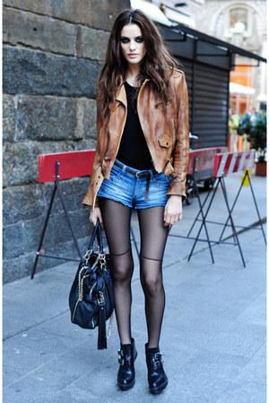 bronze Topshop blazer - black Topshop boots - dark gray H & M tights