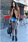 Black-topshop-boots-bronze-topshop-blazer-dark-gray-h-m-tights
