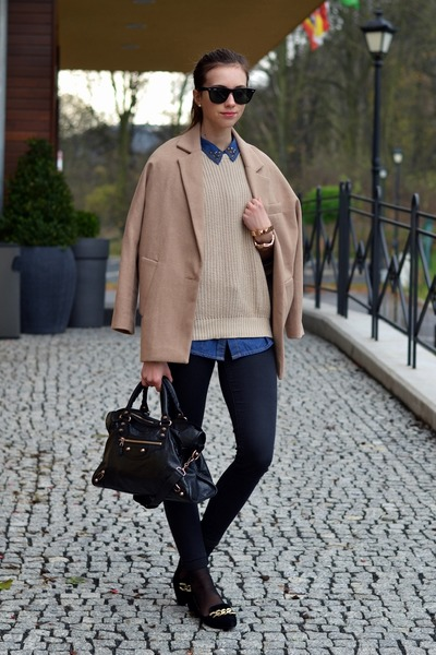 camel Choies jacket - black Topshop jeans - beige American Apparel sweater