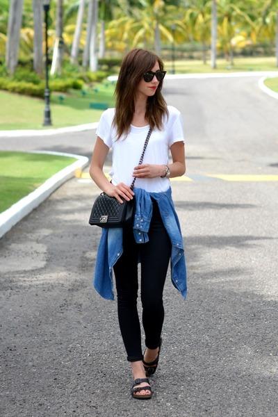 black Topshop jeans - black Chanel bag - dark brown Ray Ban sunglasses