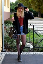 black Choies sweater - black Jeffrey Campbell boots - black Choies hat