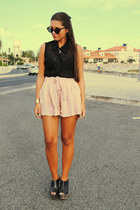 black Ray Ban sunglasses - black H&M t-shirt - peach Topshop skirt