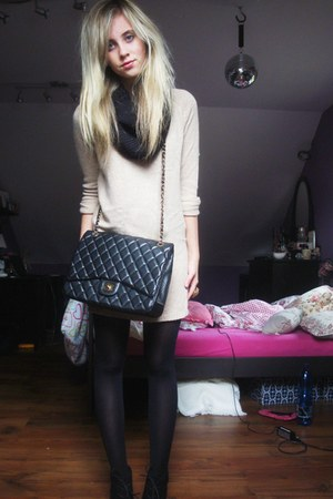black unknown brand boots - tan Mango sweater - black H &amp; M tights