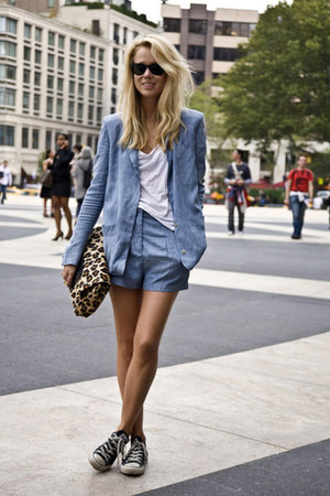 brown asos bag - periwinkle jacket - periwinkle shorts