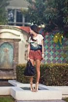 white Zara tie - black vintage bag - crimson Topshop shorts - beige vitage heels