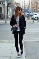 black Choies coat - black Topshop jeans - black Chanel bag