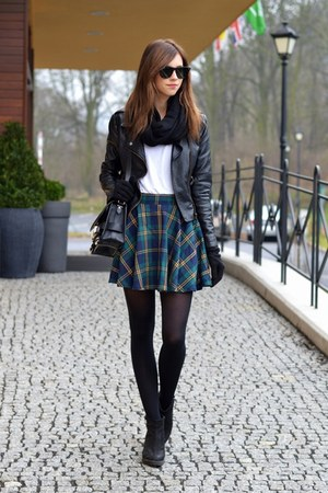 forest green Chicwish skirt - black vagabond boots - black Sheinside jacket