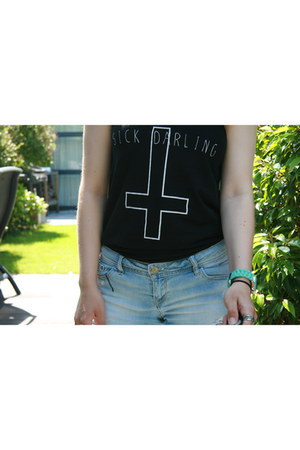 black Sick Darling shirt - sky blue Frayed Shorts shorts