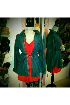 navy NRG clothing blouse - red BDG dress - black Gap belt
