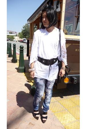 self shredded jeans - self shredded shirt - Marni shoes - Cavalli for H&M belt