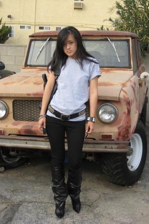 American Apparel t-shirt - J Brand jeans - Barneys COOP belt - Hermes CDC bracel
