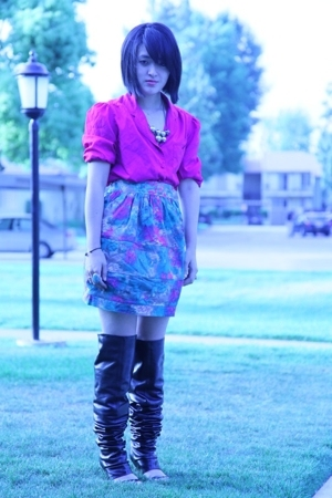 vintage shirt - Elizabeth & James skirt - MMM boots