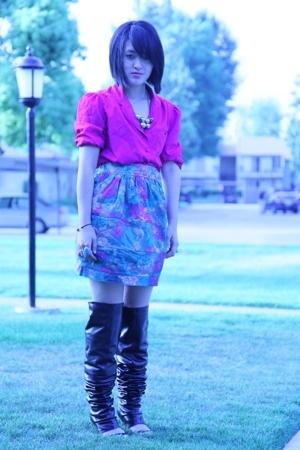 vintage shirt - Elizabeth & James skirt - MMM boots
