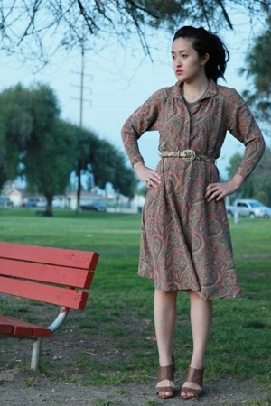beige vintage belt - brown Zara shoes - beige Vintage Liz Claiborne dress