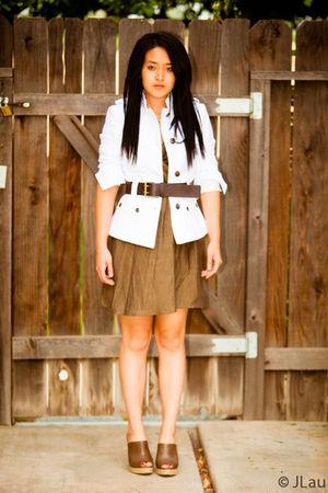 brown Zara shoes - brown Dries Van Noten dress - white Zara blazer