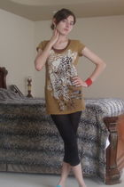 brown foreign exchange top - black tights