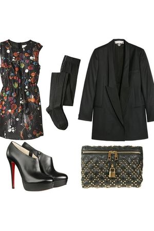 blazer - blouse - stockings - boots - purse