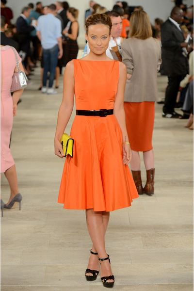 carrot orange satin Ralph Lauren dress - yellow patent leather Ralph Lauren bag
