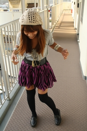 GU top - H&M skirt - socks - shoes - H&M Forever21 accessories - hat