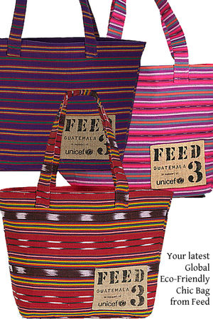 red FEED purse - pink FEED purse - purple FEED purse