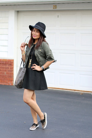 black sperry shoes - black BCBGeneration dress - army green Forever 21 jacket