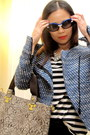 gray Mimi Boutique bag - blue Zara jacket - blue Prada sunglasses