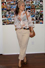 white alfred dunner blouse - beige landmark pants - brown YSL shoes - brown Mich
