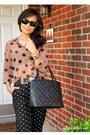 Peach-sheer-polka-dto-forever-21-blouse-black-medallion-tote-chanel-bag
