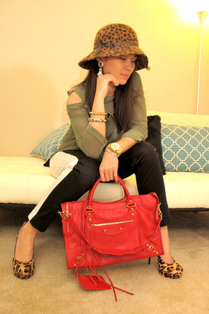 army green H&amp;M shirt - ruby red gold city balenciaga bag